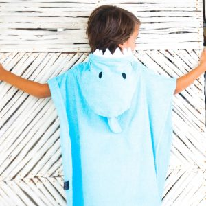 [Savana] Blue Shark Hooded Poncho Towel for Kids 100% Cotton Suitable for Indoor / Outdoor -  11 designs