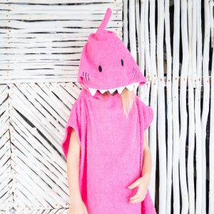 [Savana] Pink Shark Hooded Poncho Towel for Kids - 100% Cotton Suitable for Indoor / Outdoor - 11 designs