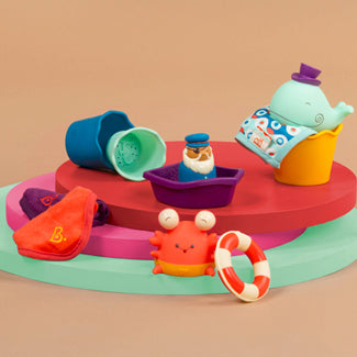 [B.Toys] Wee B. Splashy Bath Play Set with Squirts Toys and Wash Cloths BX1568Z - 0months+