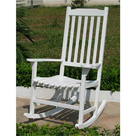 Northbeam Traditional Indoor/Outdoor White Wooden Rocking Chair   Rocking  Chair Haven