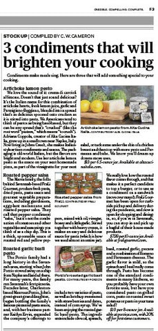 Artichoke Lemon Pesto featured Atlanta Journal Constitution