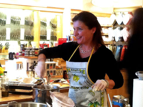 Adriana Coppola, Cooking in a demo, food sampling, demo at Williams Sonoma