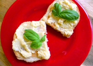 bruschetta with artichoke lemon pesto
