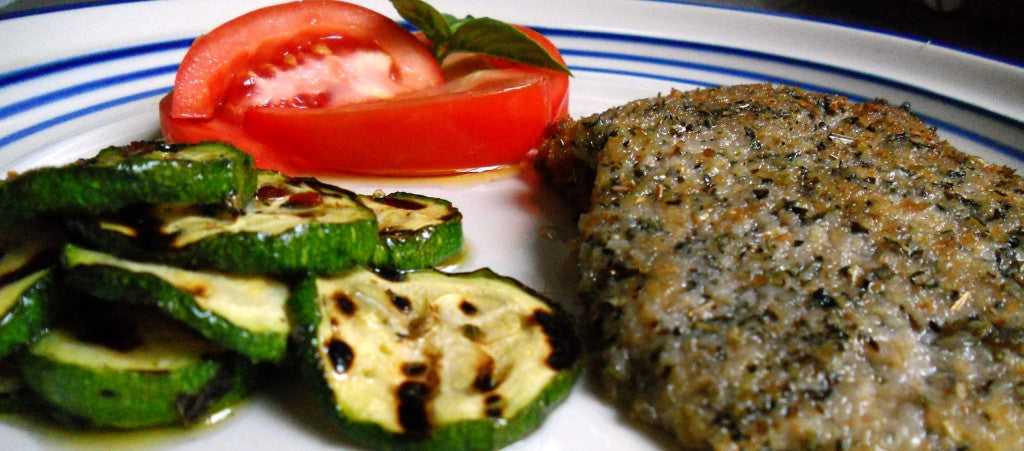 milanesa with grilled zucchini