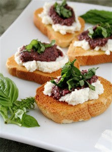 bruschetta with black olive pesto