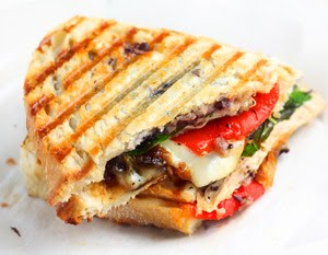 panini with black olive pesto