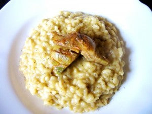 risotto con artichoke lemon pesto