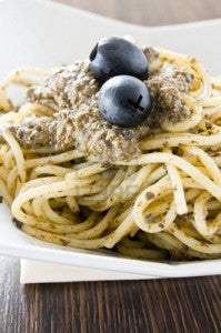 pasta with black olive pesto