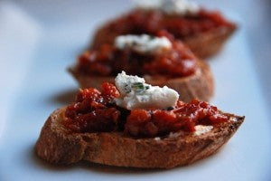 bruschetta with sundried tomato pesto