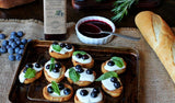 Bruschetta with blueberries and cheese and Balsamic Vinegar