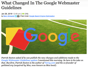 Google Webmaster Guidelines Change January 2016