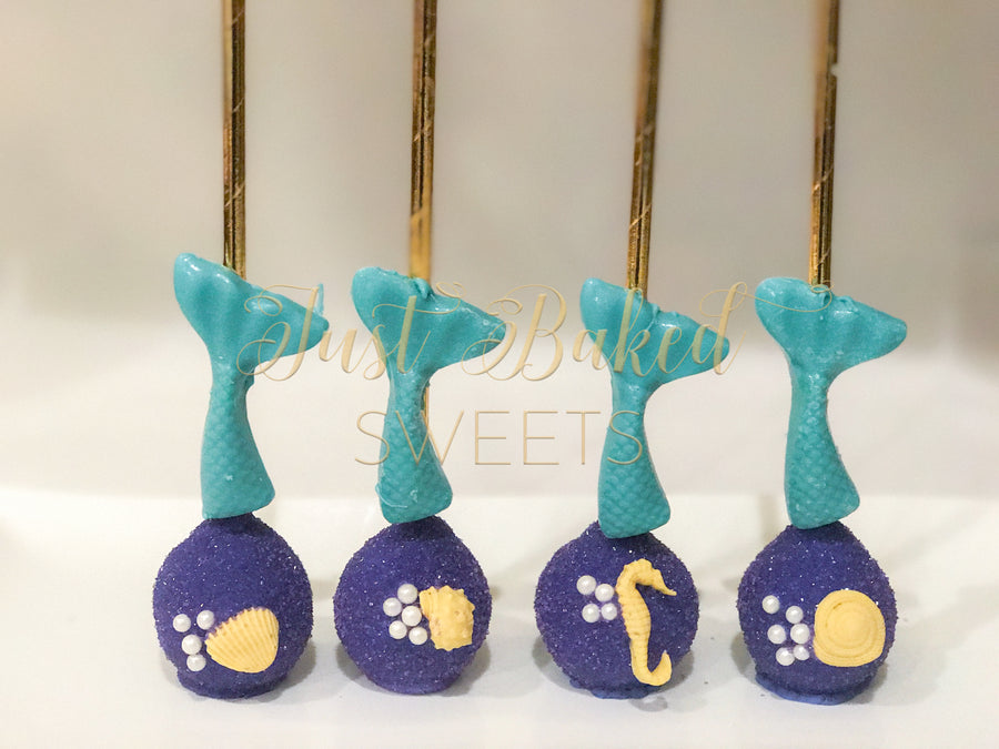 Mermaid Tail Cake Pops with Sea Shells