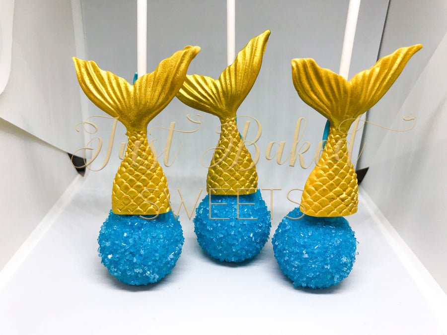 Mermaid Tail Cake Pops in Blue and Gold