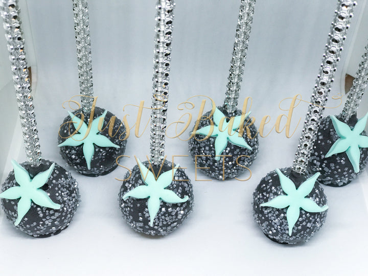 Beach Wedding Cake Pops in Black and Teal