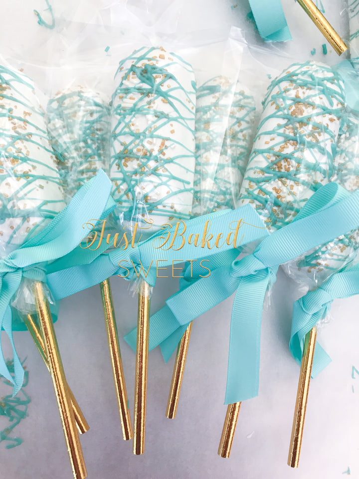 Teal and Gold Chocolate Covered Twinkies, One Dozen