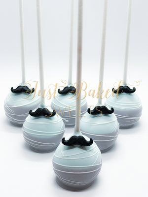 Mustache Two Tone Cake Pops in Light Blue and Gray
