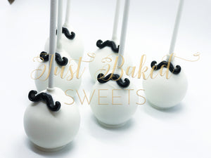 Mustache Cake Pops in White