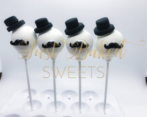 Top Hat and Mustache Theme Cake Pops