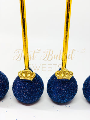 Royal Blue Prince Theme Cake Pops with Edible Crown