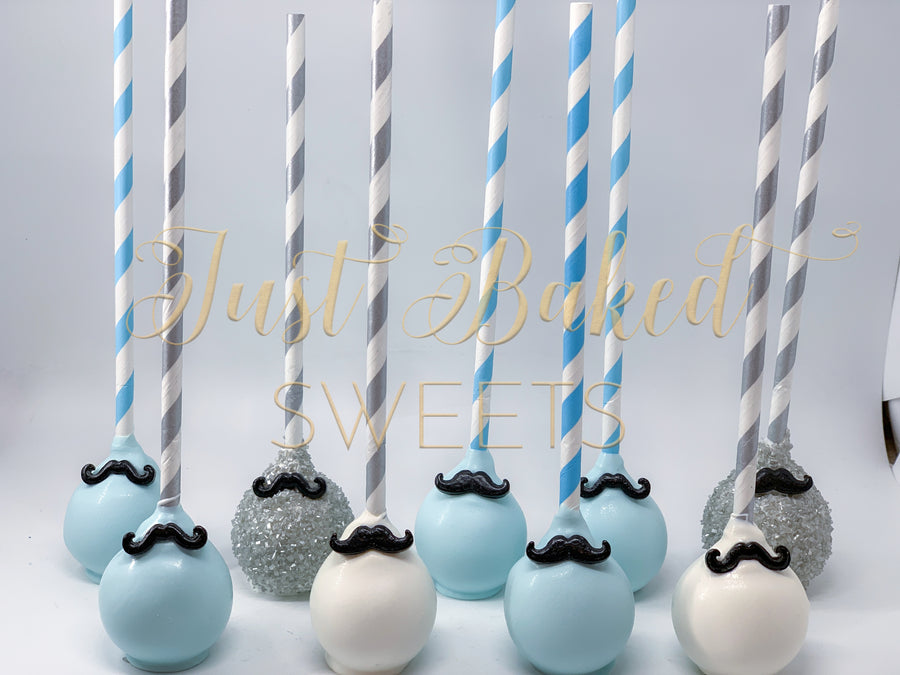 Mustache Theme Cake Pops in Light Blue, White and Silver