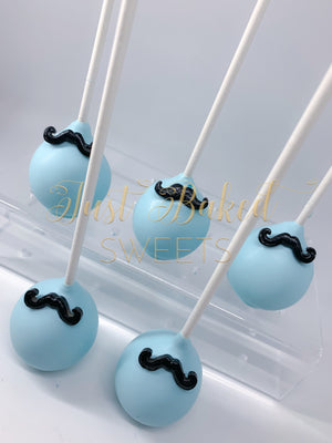 Mustache Cake Pops in Light Bue