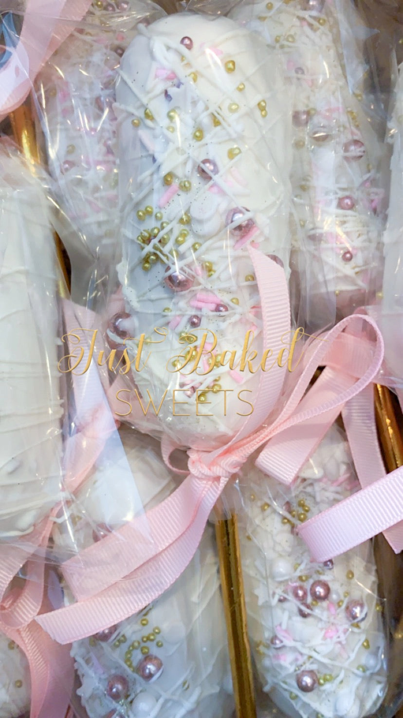 White Chocolate Covered Twinkies with Pink and Gold