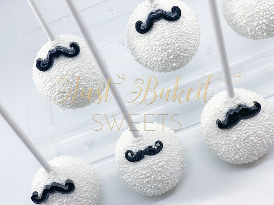 Mustache Cake Pops with White Sprinkles