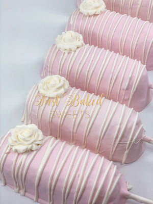 Pink Chocolate Covered Twinkies with Rose