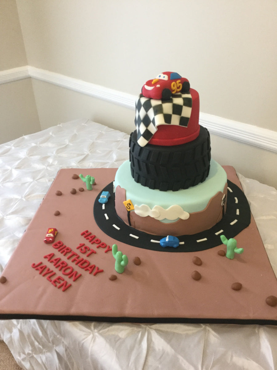 Race Car Tiered Cake