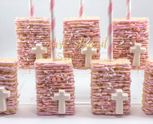 Pink Chocolate Covered Rice Krispie With Cross