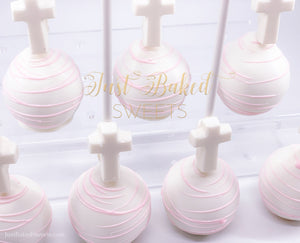 White and Pink Cross Cake Pops