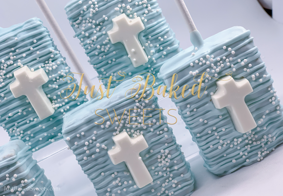 Light Blue Chocolate Covered Rice Krispie With Cross
