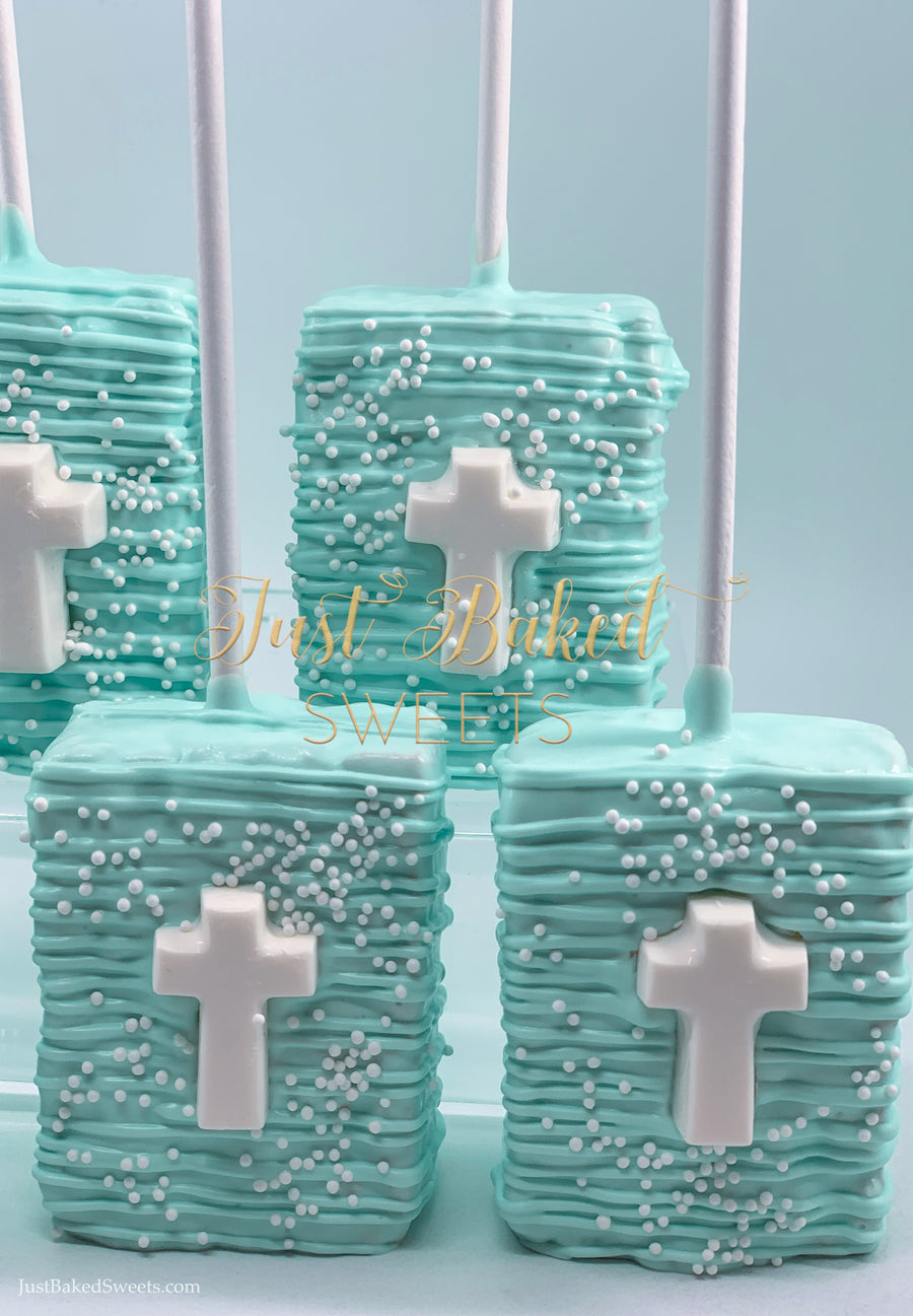Mint Green Chocolate Covered Rice Krispie With Cross