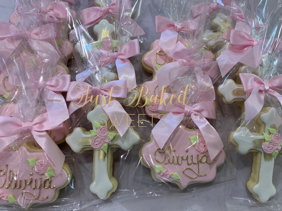 Gold and Pink First Communion and Baptism Sugar Cookie