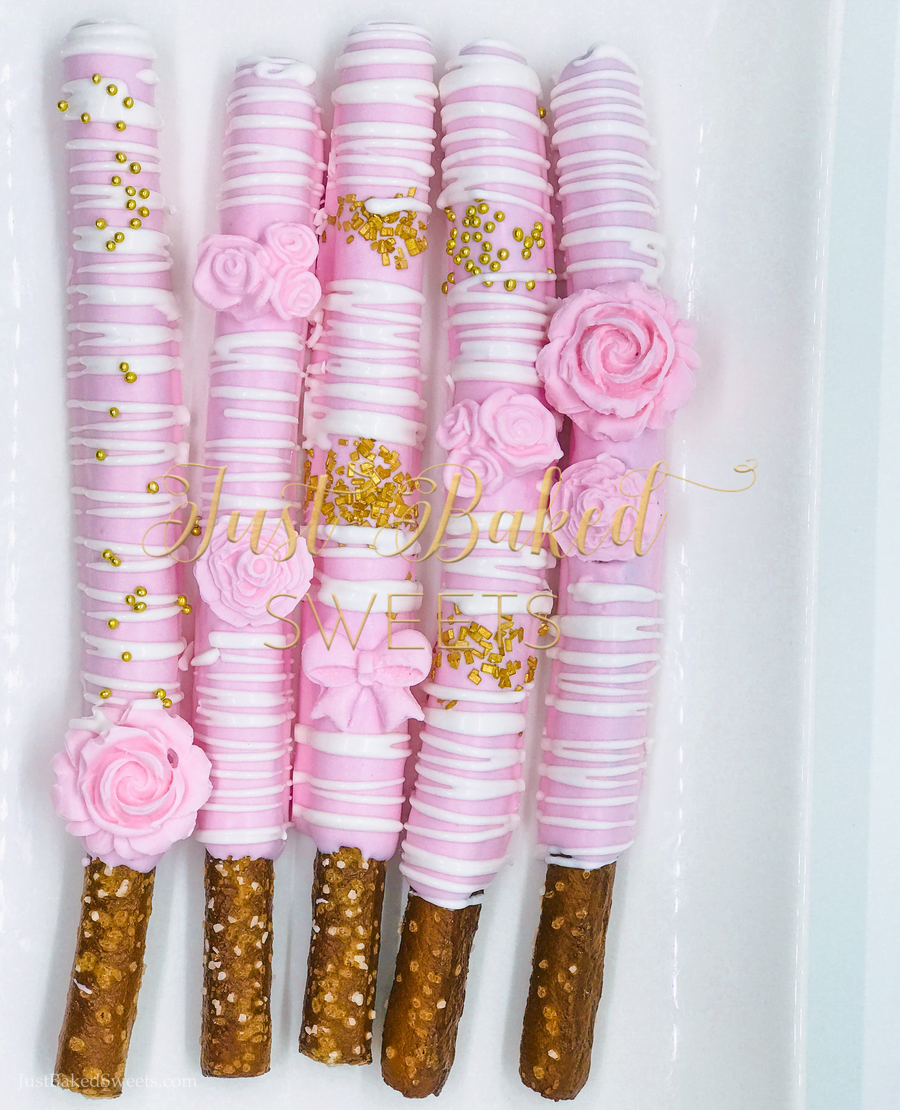 Delightful Pink Chocolate Covered Pretzels