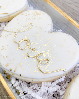 White Heart Cookies with Gold Accents