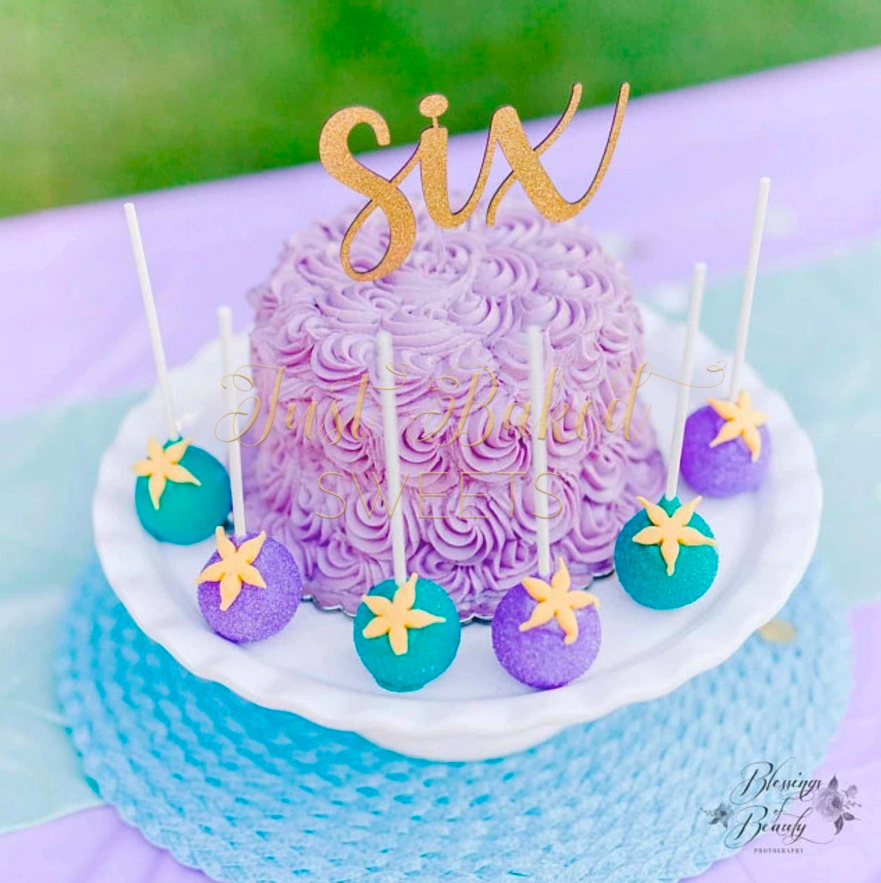 Tremendous Under The Sea Purple And Teal Cake Pops With Starfish Just Baked Personalised Birthday Cards Akebfashionlily Jamesorg