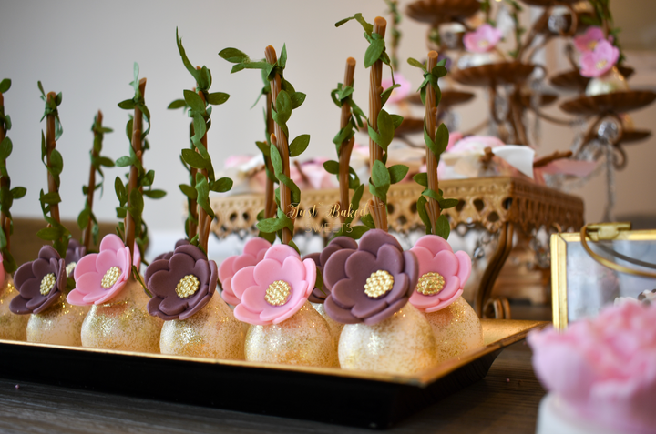 Pink and Mauve Flower Cake Pops with Gold Glitter