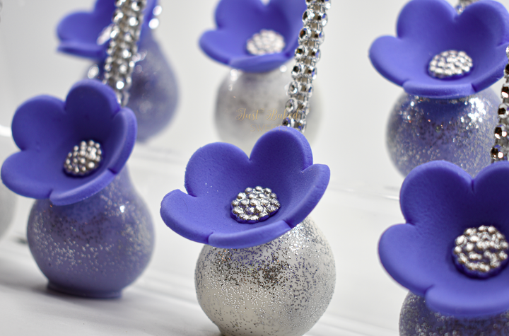 Lavender and White Cake Pops with Silver Glitter