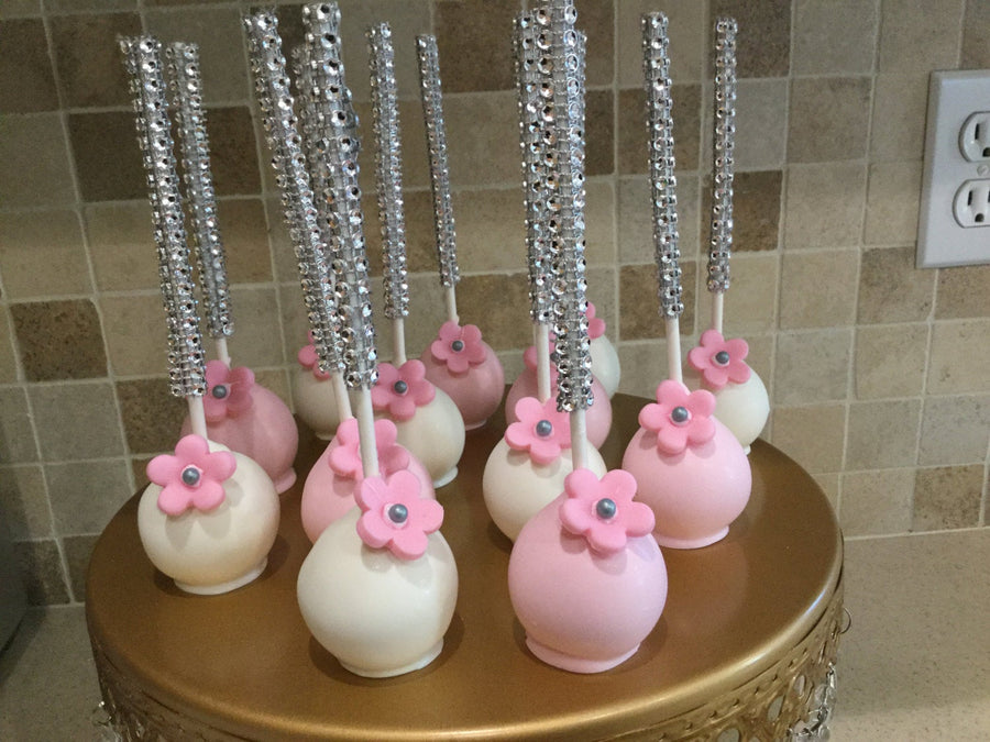 Pink and White Flower Cake Pops on Bling Stick