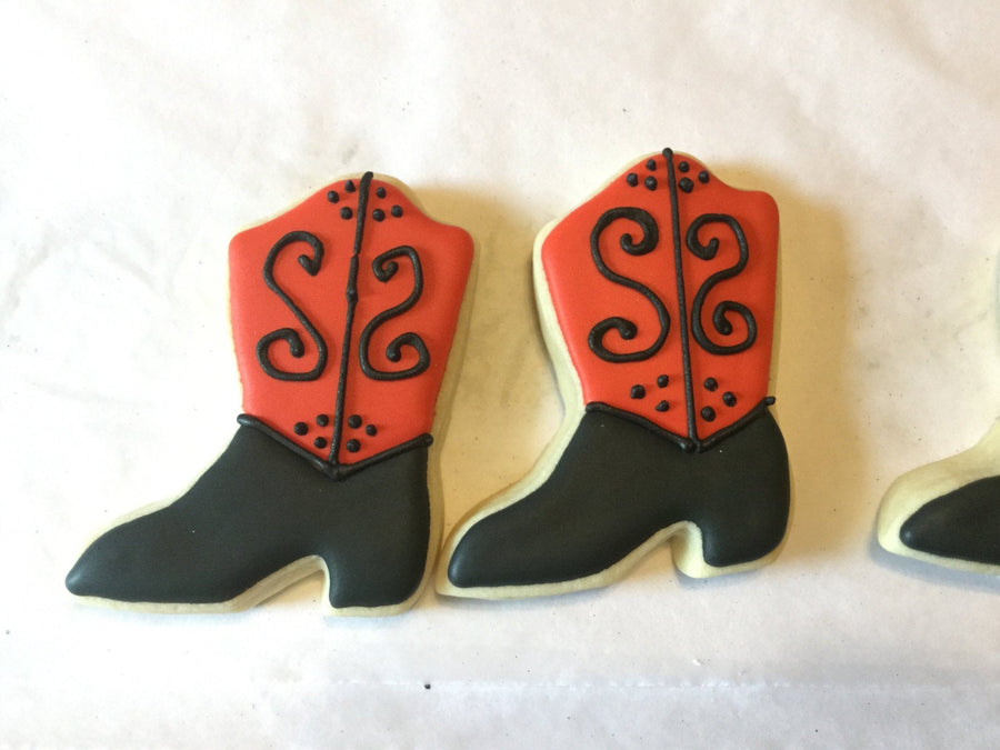 Red and Black Cowgirl Boot Sugar Cookies