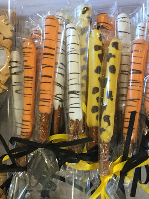 Jungle Animal Themed Chocolate Covered Pretzel Rods  | Tiger Lion Giraffe Zebra Pretzel Rods