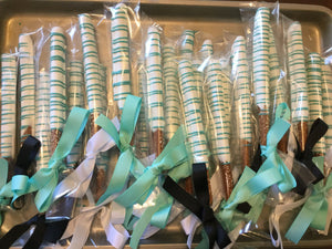 White and Turquoise Drizzled Chocolate Covered Pretzel Rods