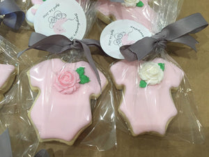 Baby Pink Little Baby Girl Onesie Cookies with Edible Roses - Pink Baby Shower Sugar Cookies