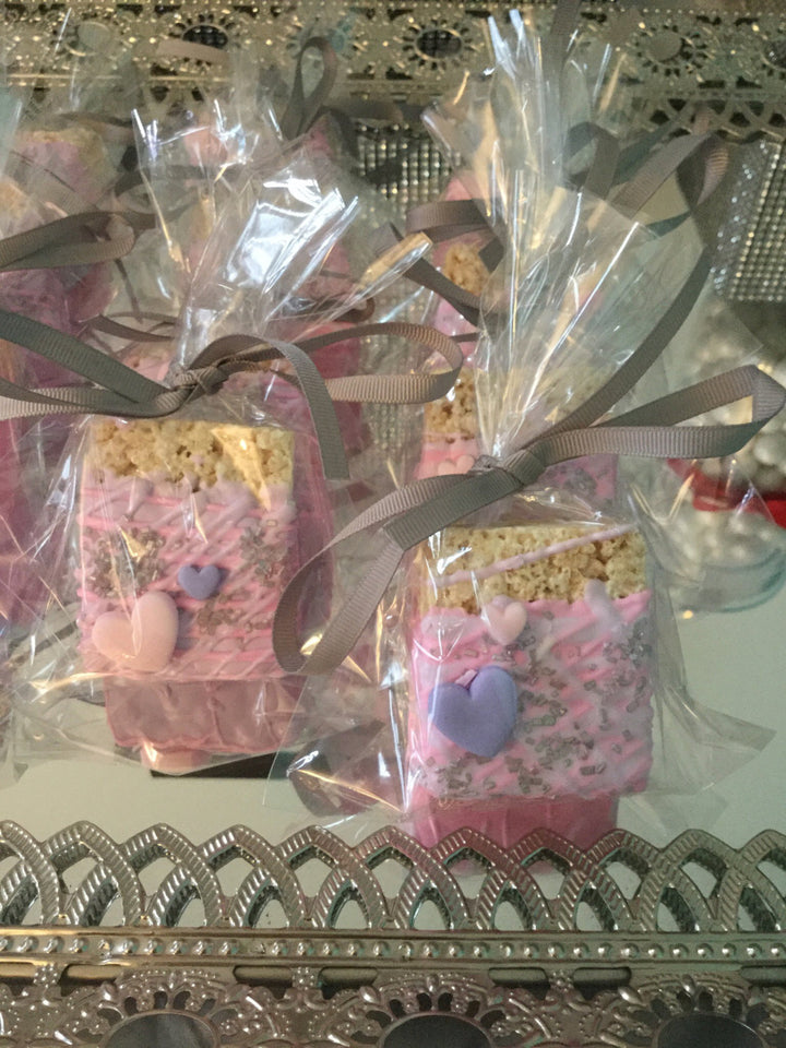 Sweet Pink Chocolate Covered Rice Krispies with Edible Hearts
