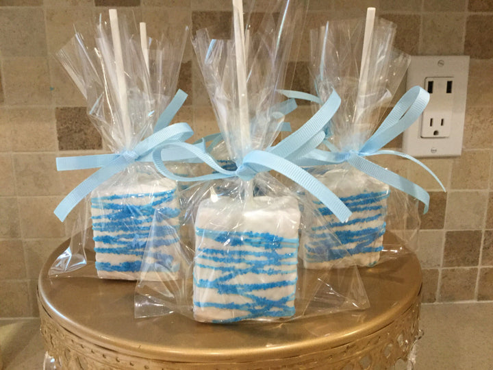 Light Blue Drizzled Chocolate Covered Rice Krispies