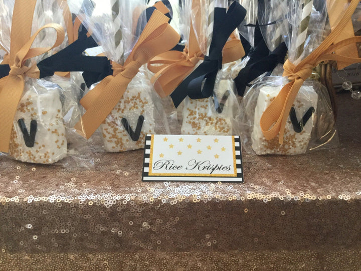 Personalized Chocolate Covered Rice Krispies in White Chocolate and Gold Sprinkles