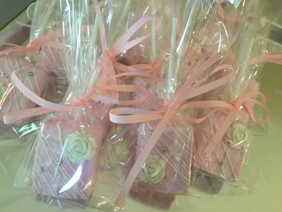 Pretty in Pink Chocolate Covered Rice Krispies with White Edible Flower