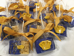 Prince Theme Chocolate Dipped Rice Krispies With Edible Crown