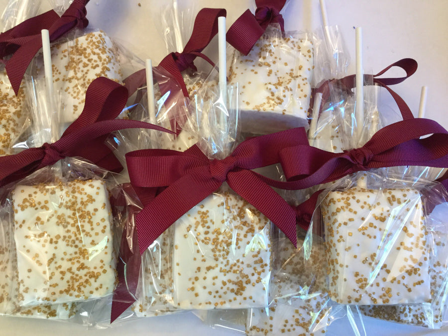 White Dipped Gold Sprinkle Chocolate Covered Rice Krispies